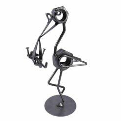Figurine enfant avec cigogne en métal