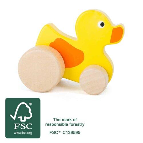 Canard jouet bois à pousser
