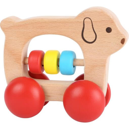 Hochet bois chien sur roulettes